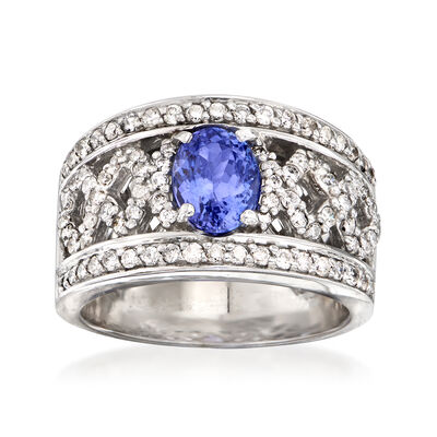 """C. 2000 Vintage 1.55 Carat Tanzanite and 1.10 ct. t.w. Diamond """"X"""" Ring in 14kt White Gold, , default"""