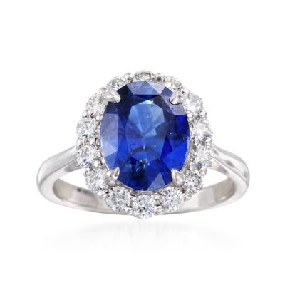 C. 1990 Vintage 3.43 Carat Sapphire and .70 ct. t.w. Diamond Ring in 18kt White Gold, , default