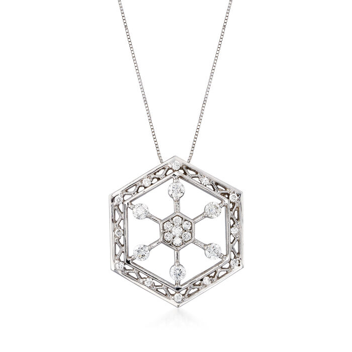 "C. 1990 Vintage .75 ct. t.w. Diamond Hexagon Snowflake Pendant Necklace in 14kt White Gold. 18"", , default"