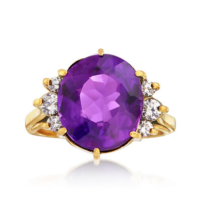 C. 1980 Vintage 6.75 Carat Amethyst and .40 ct. t.w. Diamond Ring in 18kt Yellow Gold, , default