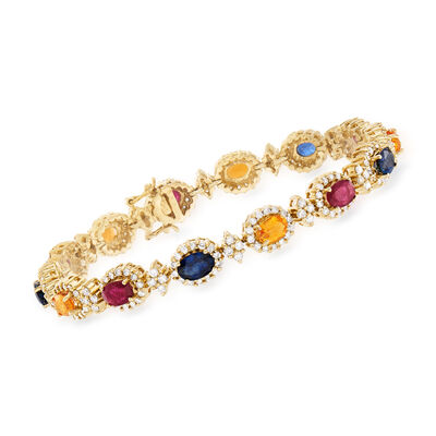 C. 1990 Vintage 5.60 ct. t.w. Multi-Gemstone and 2.80 ct. t.w. Diamond Bracelet in 14kt Yellow Gold