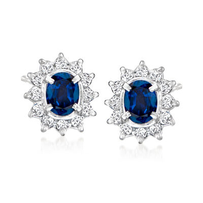 C. 1990 Vintage .50 ct. t.w. Sapphire and .12 ct. t.w. Diamond Earrings in Platinum