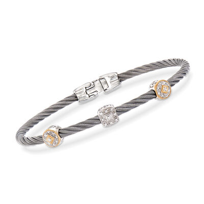 "ALOR ""Shades of Alor"" .14 ct. t.w. Diamond Gray Carnation Cable Station Bracelet in Stainless Steel and 18kt Yellow and White Gold, , default"