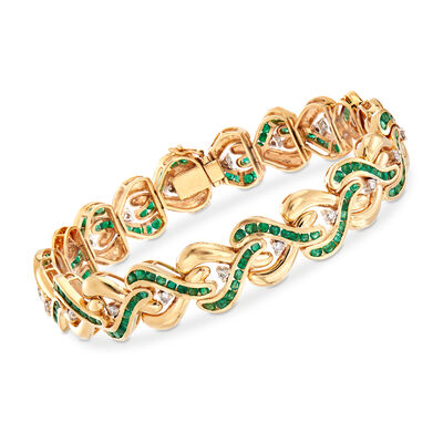 C. 1980 Vintage 5.25 ct. t.w. Emerald and .60 ct. t.w. Diamond Crisscross Link Bracelet in 14kt Yellow Gold, , default