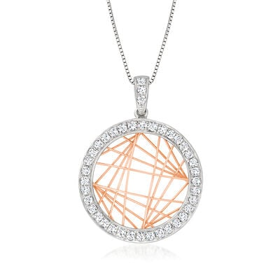 C. 1990 Vintage .50 ct. t.w. Diamond Labyrinth-Style Pendant Necklace in 14kt Two-Tone Gold