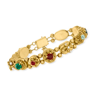 C. 1970 Vintage 1.90 ct. t.w. Multi-Gem Charm Bracelet in 14kt Yellow Gold