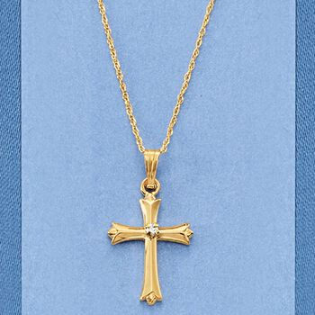 "Child's Diamond Budded Cross Pendant Necklace in 14-Karat Yellow Gold. 15"", , default"