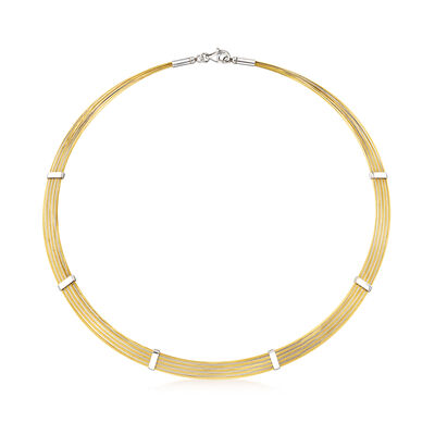 C. 1980 Vintage 14kt Two-Tone Cable Wire Necklace