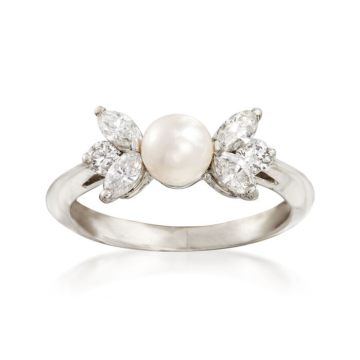 ffc358b084c3b C. 1990 Vintage Tiffany Jewelry 5mm Cultured Pearl and .50 ct. t.w. Diamond  Ring in Platinum. Size 5.5