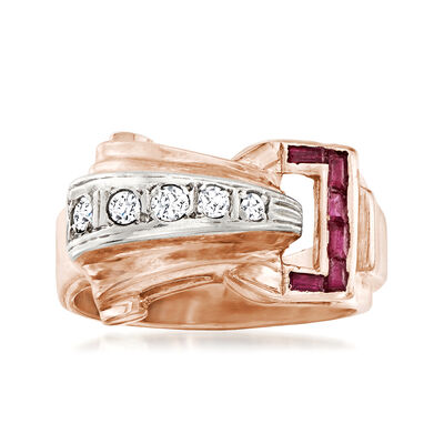 C. 1940 Vintage .15 ct. t.w. Synthetic Ruby and .12 ct. t.w. Diamond Ring in 14kt Rose Gold