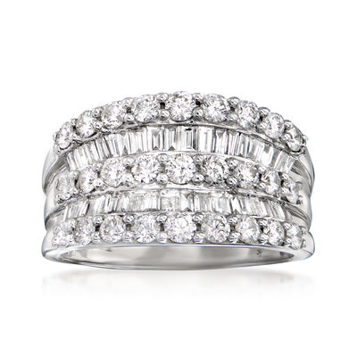C. 1990 Vintage 2.90 ct. t.w. Diamond Cocktail Ring in 14kt White Gold