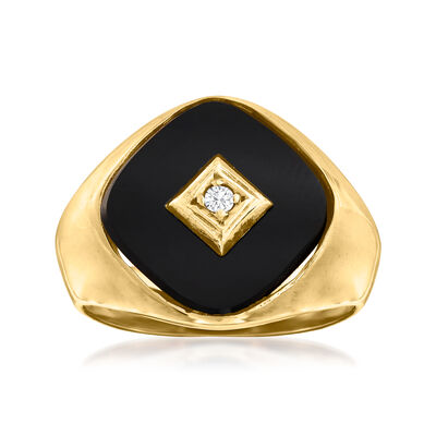 C. 1970 Vintage Black Onyx Ring with Diamond Accent in 10kt Yellow Gold