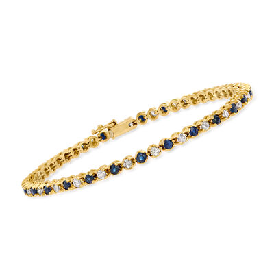 C. 1980 Vintage 2.45 ct. t.w. Sapphire and 1.55 ct. t.w. Diamond Line Bracelet in 14kt Yellow Gold