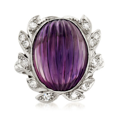 C. 1960 Vintage 13.00 Carat Amethyst and .25 ct. t.w. Diamond Cocktail Ring in Platinum