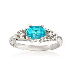 C. 1990 Vintage .90 Carat Blue Topaz Ring With Diamond Accents in 14kt White Gold, , default