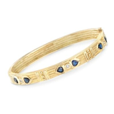 C. 1990 Vintage .90 ct. t.w. Sapphire and .10 ct. t.w. Diamond Heart Bangle Bracelet in 18kt Yellow Gold, , default
