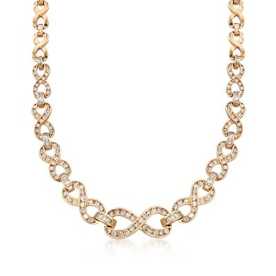 C. 1980 Vintage 5.25 ct. t.w. Diamond Infinity Necklace in 14kt Yellow Gold, , default