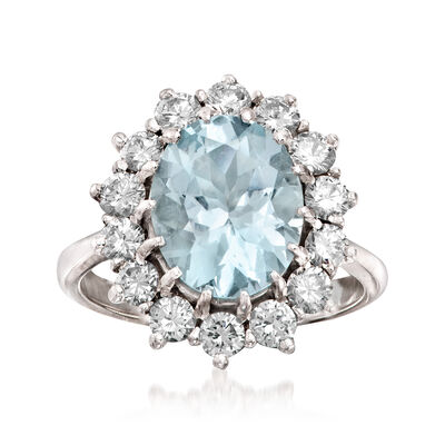 C. 1970 Vintage 3.35 Carat Aquamarine and 1.25 ct. t.w. Diamond Ring in 18kt White Gold, , default