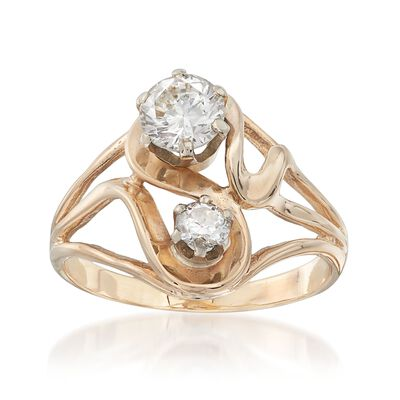 C. 1970 Vintage .93 ct. t.w. Diamond Open-Space Swirl Ring in 14kt Yellow Gold, , default