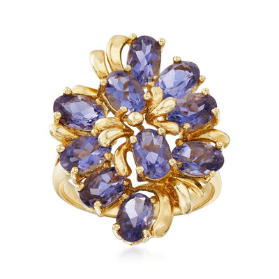 C. 1970 Vintage 3.50 ct. t.w. Iolite Cluster Ring in 14kt Yellow Gold, , default