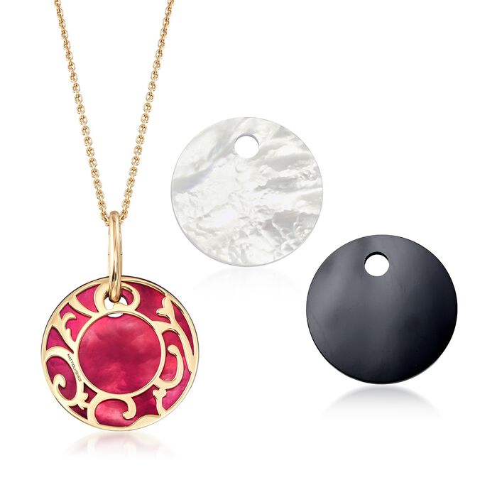 "Mattioli ""Siriana"" 18kt Yellow Gold Pendant Necklace with Three Interchangeable Pendants: 18kt Gold and Multi-Stone"