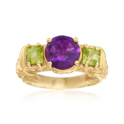 C. 1990 Vintage 2.10 Carat Amethyst and .70 ct. t.w. Peridot Ring in 10kt Yellow Gold, , default