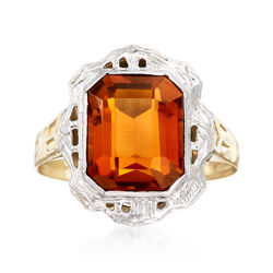C. 1950 Vintage 2.20 Carat Citrine Ring in 14kt Two-Tone Gold, , default