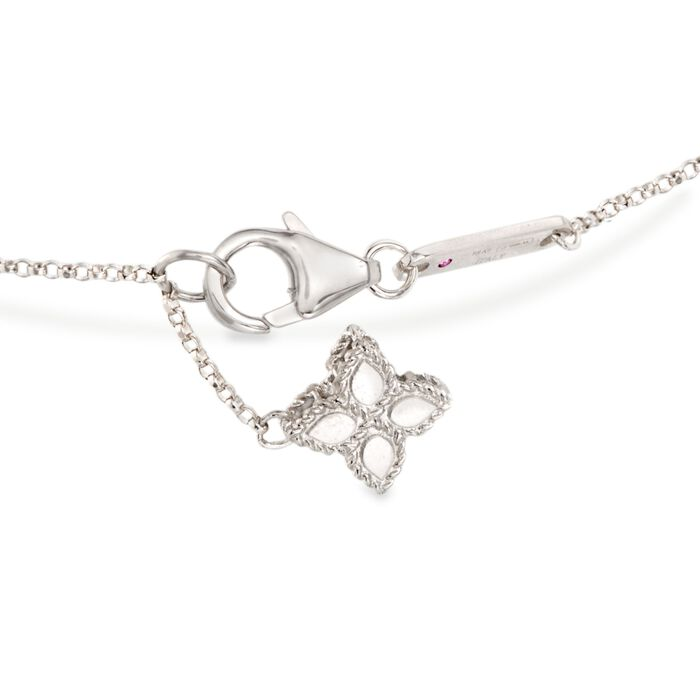 "Roberto Coin ""Princess"" .17 ct. t.w. Diamond Flower Bracelet in 18kt White Gold"