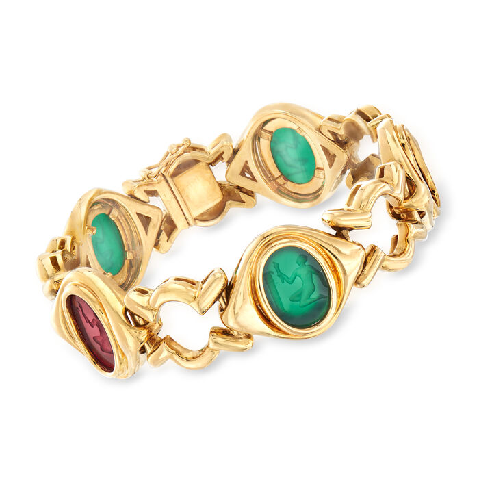 C. 1980 Vintage Legnazzi 16x12mm Red and Green Murano Glass Intaglio Bracelet in 18kt Yellow Gold