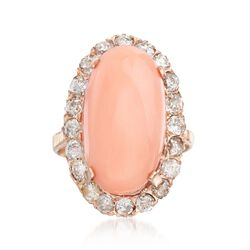 C. 1950 Vintage Pink Coral and 1.75 ct. t.w. Diamond Ring in 14kt Rose Gold, , default