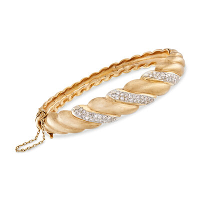 C. 1980 Vintage Diamond Twist Bangle in 14kt Yellow Gold, , default