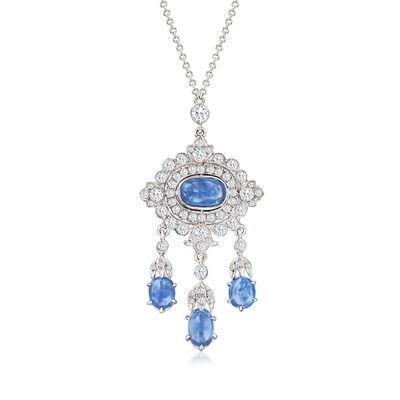 C. 1990 Vintage 4.00 ct. t.w. Sapphire and .95 ct. t.w. Diamond Drop Necklace in 14kt and 18kt Gold