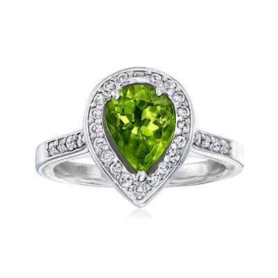 C. 1980 Vintage 1.75 Carat Peridot Ring with .50 ct. t.w. Diamonds in 14kt White Gold