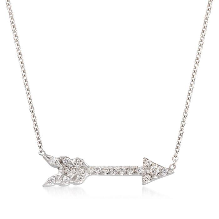 "Roberto Coin Diamond-Accented Arrow Necklace in 18-Karat White Gold. 16"", , default"