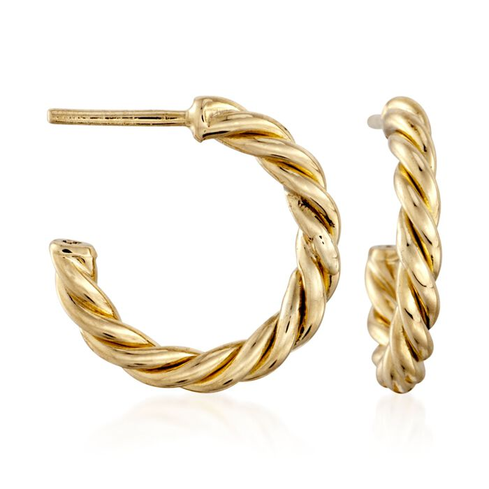 Roberto Coin Medium Twist Half Hoops in 18-Karat Yellow Gold. Post Earrings, , default