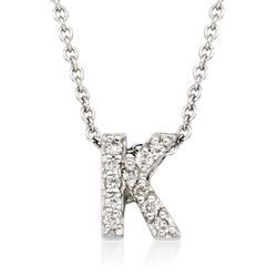 "Roberto Coin ""Tiny Treasures"" Diamond Accent Initial ""K"" Necklace in 18kt White Gold, , default"
