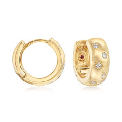 Roberto Coin .14 ct. t.w. Diamond Huggie Hoop Earrings in 18kt Yellow Gold, , default