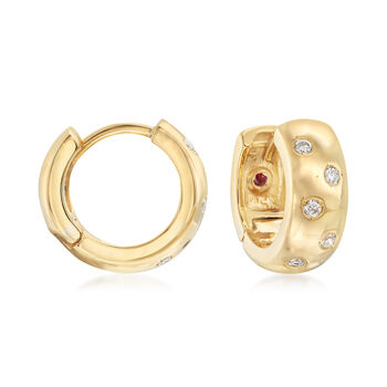 "Roberto Coin .14 ct. t.w. Diamond Huggie Hoop Earrings in 18kt Yellow Gold. 1/2"", , default"