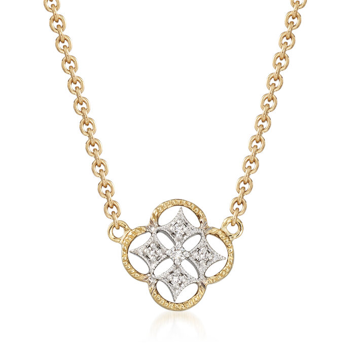 "Simon G. 18kt Two-Tone Gold Openwork Clover Necklace With Diamond Accents. 17"", , default"