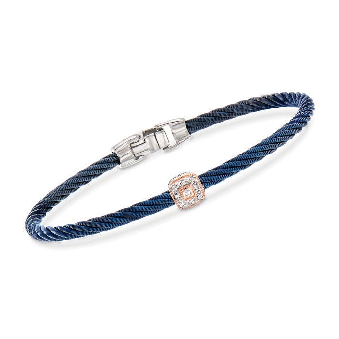 "ALOR ""Shades of Alor"" Blue Stainless Steel Cable Bracelet with Diamond Accents and 18kt Two-Tone Gold. 7"""