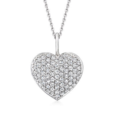 Roberto Coin .70 ct. t.w. Diamond Heart Pendant Necklace in 18kt White Gold