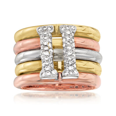 C. 1980 Vintage .60 ct. t.w. Diamond Multi-Row Ring in 18kt Tri-Colored Gold