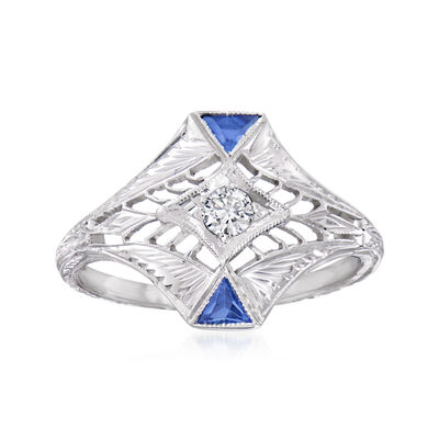 C. 1950 Vintage .10 Carat Diamond and .10 ct. t.w. Synthetic Sapphire Ring in 18kt White Gold