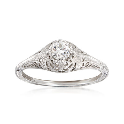 C. 1950 Vintage .40 Carat Diamond Milgrain Ring in 18kt White Gold, , default