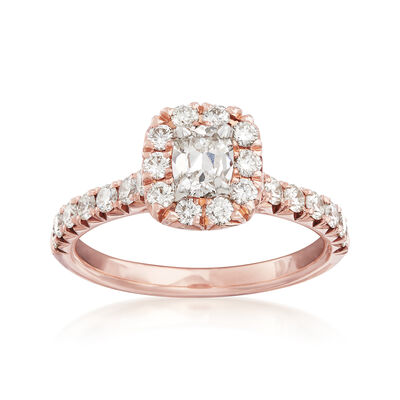 Henri Daussi 1.10 ct. t.w. Diamond Halo Engagement Ring in 18kt Rose Gold, , default