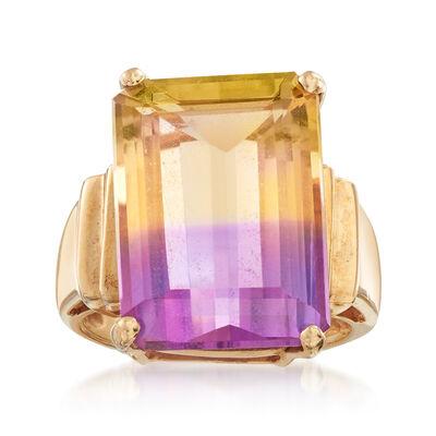 C. 1980 Vintage 11.50 Carat Ametrine Ring in 10kt Yellow Gold, , default