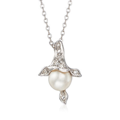 C. 1970 Vintage 7mm Cultured Pearl and .10 ct. t.w. Diamond Pendant Necklace in 14kt White Gold, , default
