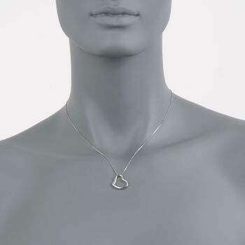 "Roberto Coin Heart Necklace in 18-Karat White Gold. 18"", , default"