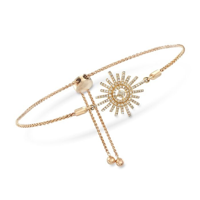 .17 Carat Total Diamond Sunburst Bolo Bracelet in 14-Karat Yellow Gold, , default