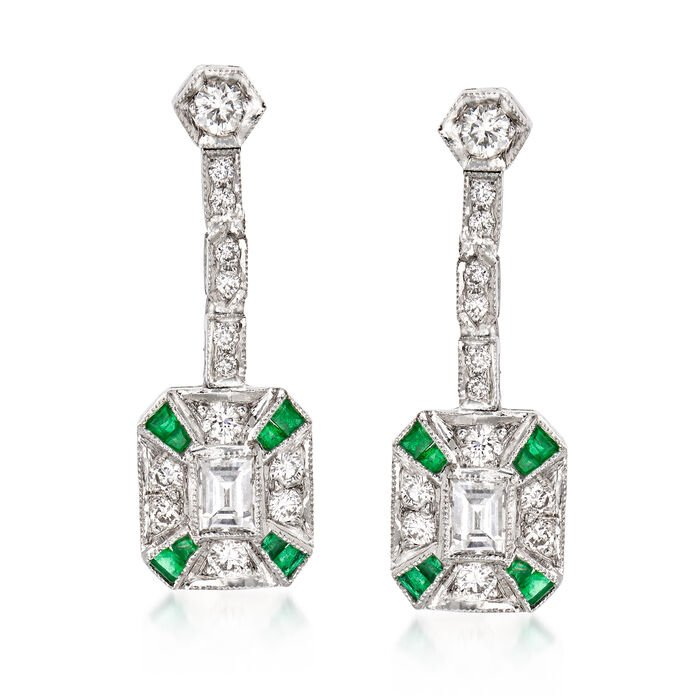C. 1990 Vintage .90 ct. t.w. Diamond and .30 ct. t.w. Emerald Drop Earrings in 18kt White Gold, , default